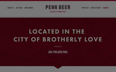 Screenshot of Contact Page pennbeer.com - Contact – Penn Beer - captured Jan. 26, 2016