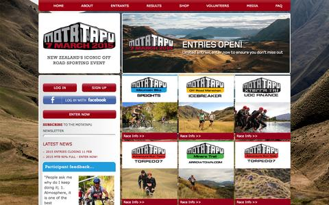 Screenshot of Home Page motatapu.com - Home » Motatapu - captured Jan. 25, 2015