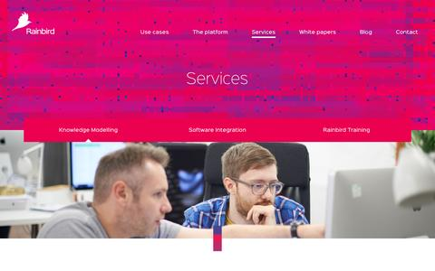 Screenshot of Services Page rainbird.ai - Knowledge Modelling | Rainbird - captured Feb. 26, 2016