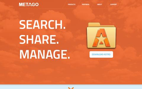 Screenshot of Home Page metago.net - Metago - One-Stop Content Management & Aggregated Search - captured Sept. 16, 2014