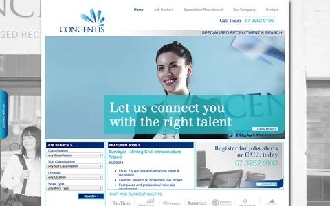 Screenshot of Home Page concentis.com.au - Concentis - recruitment for mining jobs, oil & gas jobs, power jobs, infrastructure jobs and business support jobs. - captured Oct. 2, 2014