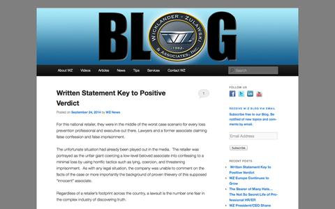 Screenshot of Blog w-z.com - WZ Blog | Interview & Interrogation Training | Wicklander-Zulawski - captured Oct. 7, 2014