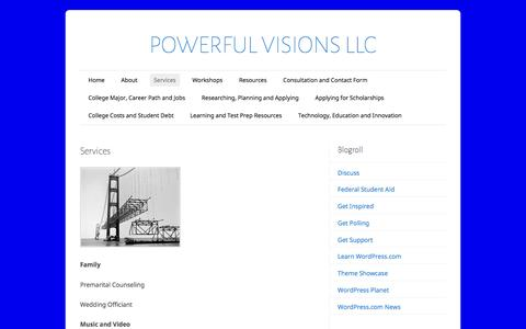 Screenshot of Services Page powerfulvisions.org - Services      POWERFUL VISIONS LLC - captured Nov. 10, 2016