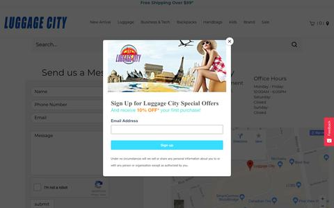 Screenshot of Contact Page luggagecity.ca - Contact Us | Luggage City - captured March 6, 2018