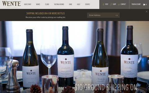 Screenshot of Home Page wentevineyards.com - Welcome to Wente Vineyards | Wente Vineyards - captured Nov. 4, 2017