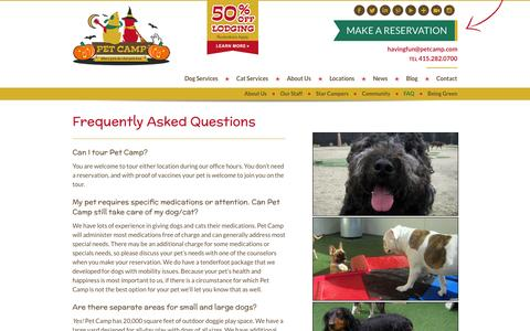 Screenshot of FAQ Page petcamp.com - Dog & Cat Boarding Frequently Asked Questions (FAQs) | Pet Camp - captured Sept. 29, 2014