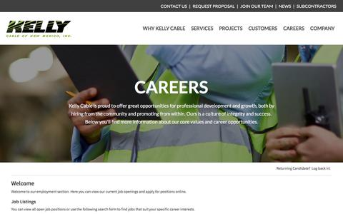 Screenshot of Jobs Page icims.com - Careers :: Kelly Cable - captured Sept. 20, 2018