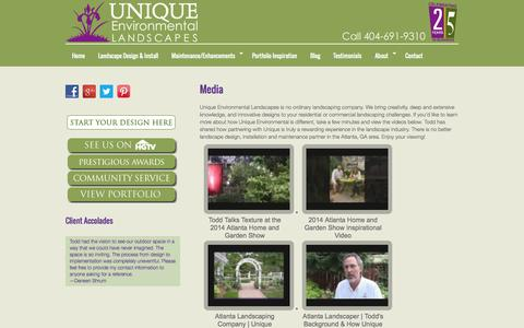 Screenshot of Press Page unique-environmental.com - Atlanta Landscape Designers Share Inspiration | Unique Environmental - captured Oct. 7, 2014