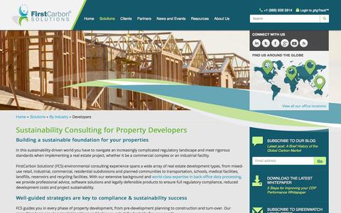 Screenshot of Developers Page firstcarbonsolutions.com - Environmental Consultancy for Property Developers | Environmental Compliance, Due Diligence for Real Estate - captured Oct. 10, 2014