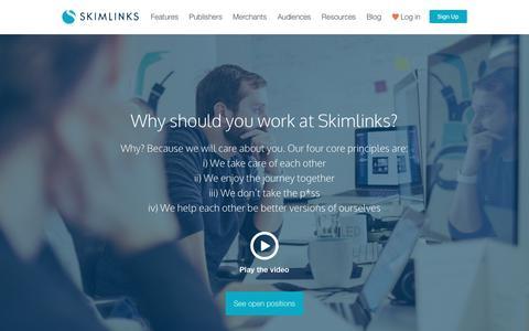 Screenshot of Jobs Page skimlinks.com - Careers | Skimlinks - captured Jan. 17, 2018