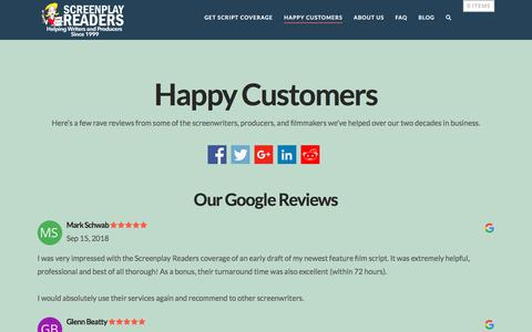 Screenshot of Testimonials Page screenplayreaders.com - 250+ Quotes from Happy Customers | Screenplay Readers - captured Sept. 20, 2018