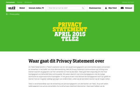 Screenshot of Privacy Page tele2.nl - Privacy Policy | Tele2 - captured Jan. 18, 2016