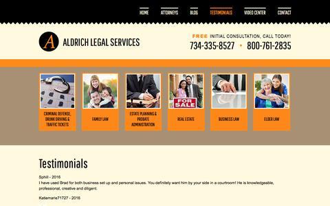 Screenshot of Testimonials Page aldrichlegalservices.com - Testimonials | Aldrich Legal Services | Plymouth, MI - captured May 29, 2017