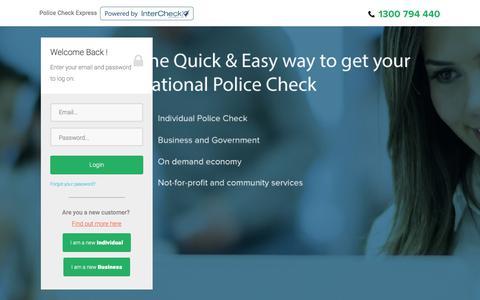 Screenshot of Login Page policecheckexpress.com.au - Police Check Express :: Police Check Express :: Login - captured Aug. 11, 2017