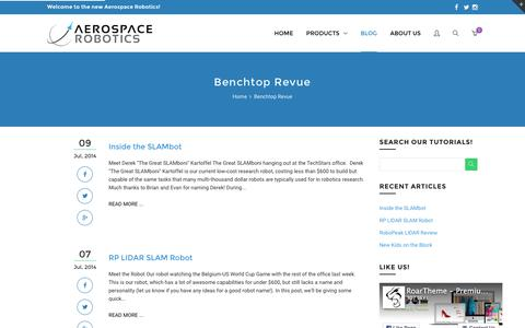 Screenshot of Blog aerospacerobotics.com - Benchtop Revue | Aerospace Robotics - captured Feb. 5, 2016