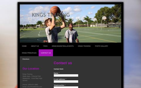 Screenshot of Contact Page training-kings.com - Contact Us - KINGS TRAINING - captured Oct. 6, 2014