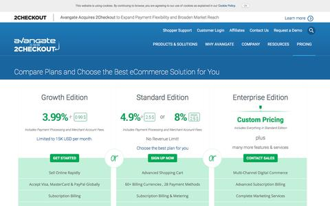 Screenshot of Pricing Page avangate.com - Avangate Pricing - Best eCommerce Solution for your Digital Business - captured April 28, 2018