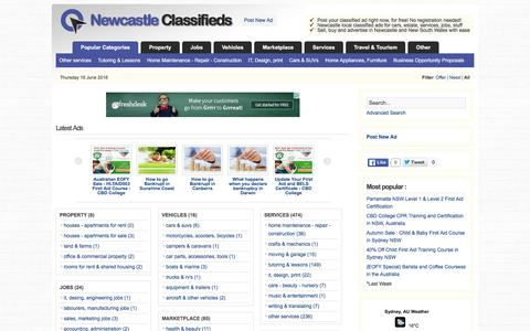 Screenshot of Home Page newcastle-classifieds.info - Newcastle Classifieds - New South Wales Advertising - captured June 16, 2016