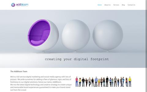 Screenshot of Home Page addbloom.com - AddBloom   AddBloom - Home - captured Sept. 30, 2014