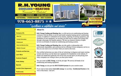 Screenshot of About Page rhyoung.com - R.H. Young Cooling and Heating, Inc. Furnace, Air Conditioning, GeoThermal, Duct Cleaning, Heating Contractors - About Us - captured Oct. 7, 2014