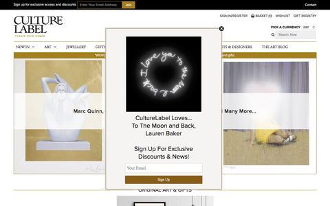 Screenshot of Home Page culturelabel.com - Unique Gifts & Unusual Present Ideas | CultureLabel London - captured July 17, 2016