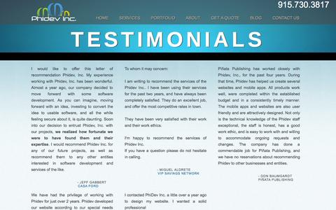 Screenshot of Testimonials Page phidevinc.com - Testimonials: What our clients say about us - iPhone, iPad and Web DevelopmentiPad & iPhone App and Mobile Web Design and Development - captured Sept. 29, 2014