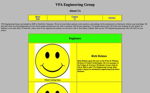 Screenshot of About Page failure-analysis-durability.com - VFA Engineering Group - About Us - captured Oct. 7, 2014