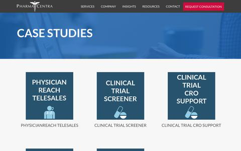 Screenshot of Case Studies Page pharmacentra.com - Case Studies - PharmaCentra - captured July 17, 2018