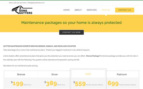 Screenshot of Pricing Page 3sonsgutters.com - Work – 3 Sons Gutters - captured July 6, 2018