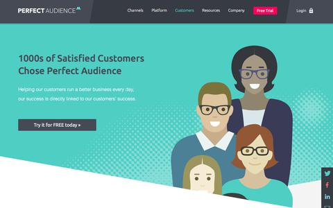Screenshot of Case Studies Page perfectaudience.com - Customers Overview - Perfect Audience - captured Sept. 11, 2019