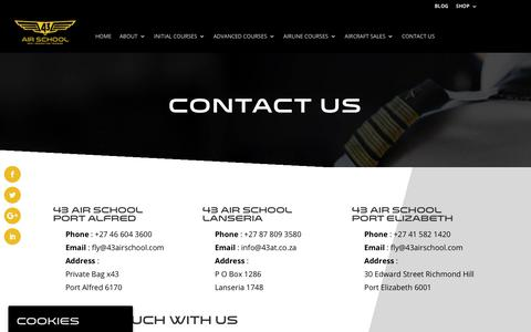 Screenshot of Contact Page 43airschool.com - Contact Us - 43 Air School - captured Nov. 18, 2018