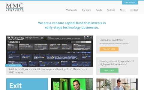 Screenshot of Home Page mmcventures.com - MMC Ventures - captured Feb. 20, 2017