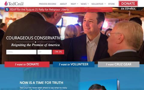 Screenshot of Home Page tedcruz.org - Ted Cruz for President - captured Aug. 6, 2015