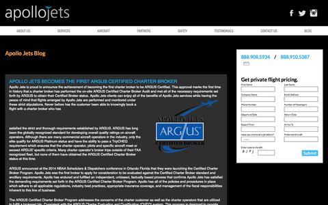 Screenshot of Blog apollojets.com - Blog - Apollo Jets Private Charters - captured Nov. 2, 2014