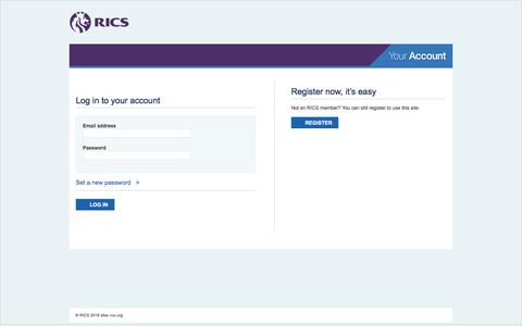 Screenshot of Login Page rics.org - Sign In - captured Aug. 15, 2019