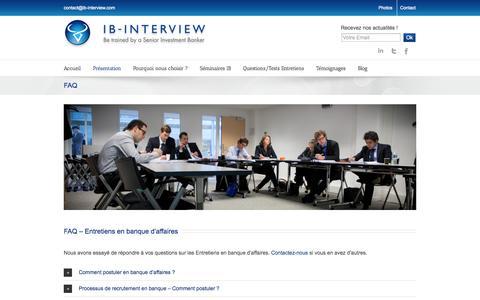 Screenshot of FAQ Page ib-interview.com - IB Interview FAQ - Entretiens en banque d'affaires - captured Sept. 30, 2014