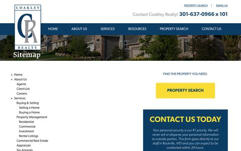 Screenshot of Site Map Page coakleyrealty.com - Our Sitemap   Coakley Realty - captured Feb. 16, 2017