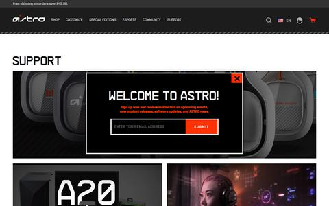 Screenshot of Support Page astrogaming.com - Product Support and Information | ASTRO Gaming - captured April 14, 2018