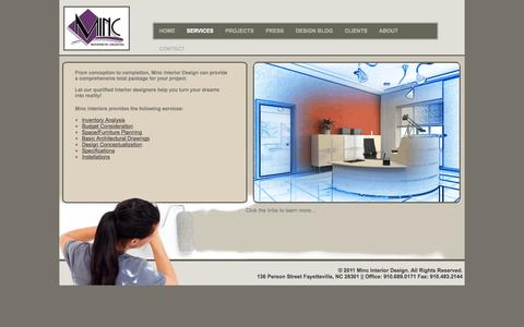Screenshot of Services Page mincinteriors.com - MInc Interiors - Services - captured Oct. 3, 2014