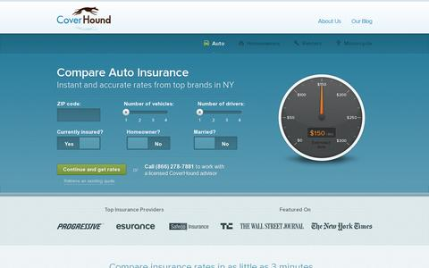 Screenshot of Home Page coverhound.com - Compare car insurance quotes from top carriers » CoverHound - captured July 11, 2014