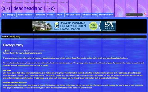 Screenshot of Privacy Page deadheadland.com - Privacy Policy » {;(~) | deadheadland | (~);} - captured Sept. 30, 2014