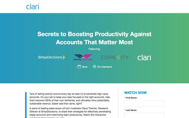 Webinar: Secrets to Boosting Productivity Against Accounts That Matter Most