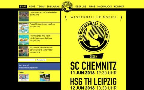Screenshot of Home Page wasserball-dresden.de - Start - SG Wasserball Dresden - captured June 8, 2016