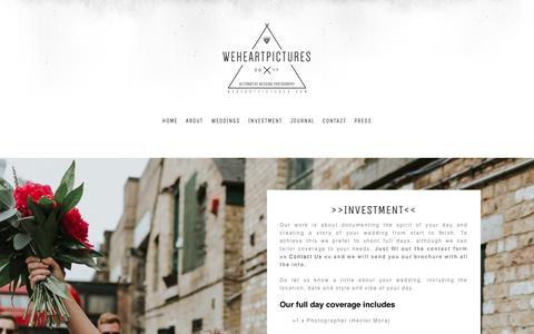 Screenshot of Pricing Page weheartpictures.com - Alternative Wedding Photographer London, UK and Destination. - captured Jan. 30, 2018