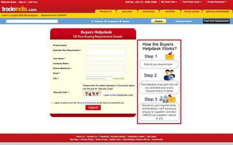 Screenshot of Contact Page tradeindia.com - Post Sourcing Requirement, Post Buying Requirement, Buy Requirement, Buyers Helpdesk - captured Sept. 18, 2014