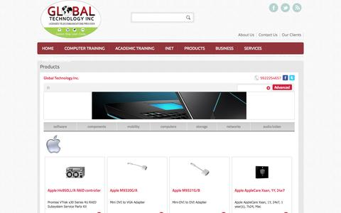 Screenshot of Products Page gtechweb.com - Products | Global Technology Inc. - captured Nov. 2, 2014