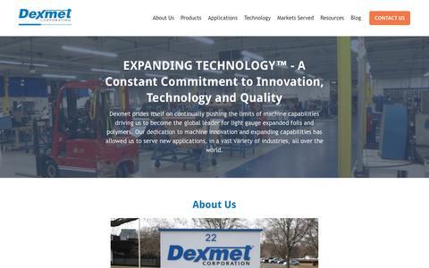 Screenshot of About Page dexmet.com - About Us   Dexmet Corporation - captured Oct. 9, 2018