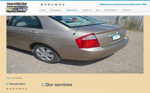 Screenshot of Services Page autosonicsautobody.com - Our services - captured Oct. 4, 2018