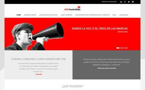 Screenshot of Home Page koemarketing.com - Koe Social Media | Marketing Digital y Redes sociales - captured Oct. 14, 2018