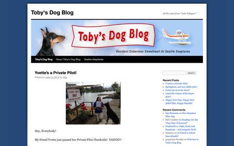 "Screenshot of Blog seattleseaplanes.com - Toby's Dog Blog | All the news from ""Lake Tobegon"" - captured Sept. 30, 2014"